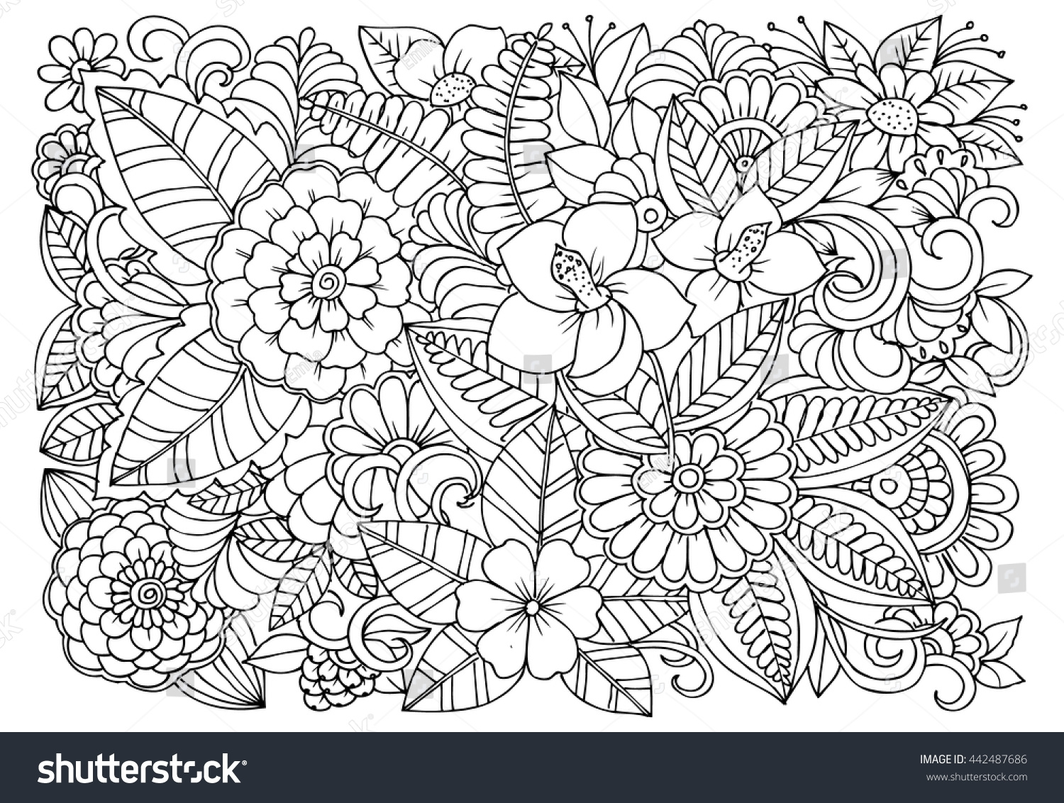 Flower Garden Coloring Pages - Black White Flower Pattern Coloring Doodle Stock Vector