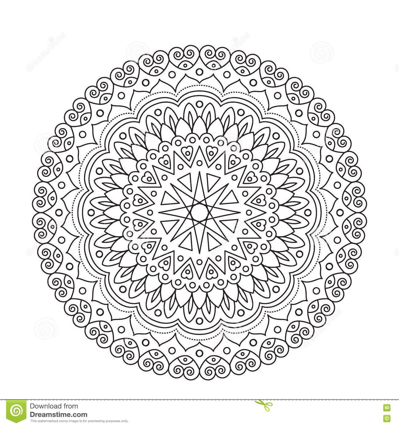 flower garden coloring pages - stock illustration coloring book mandala circle lace ornament round ornamental pattern black white design vector page adults image