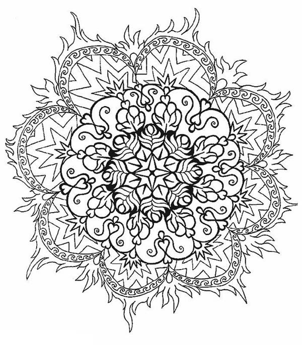 flower mandala coloring pages - flower in fire mandala coloring pages