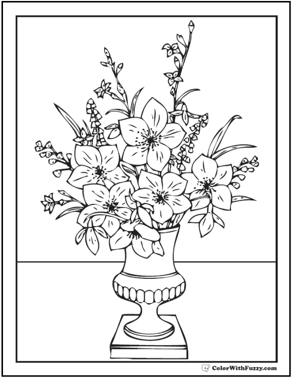 flower pot coloring page - flower coloring pages