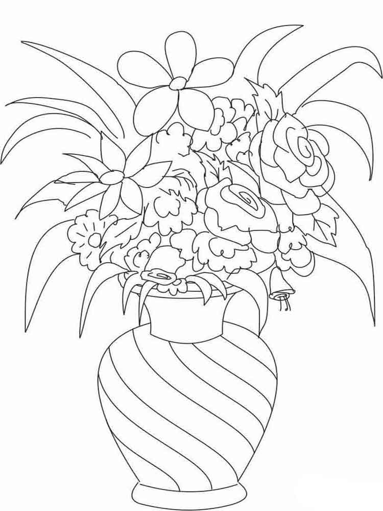 flower pot coloring page - flowers in a vase coloring page