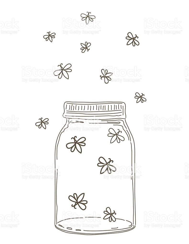 flower pot coloring page - summer hand drawn mason jars with fireflies gm