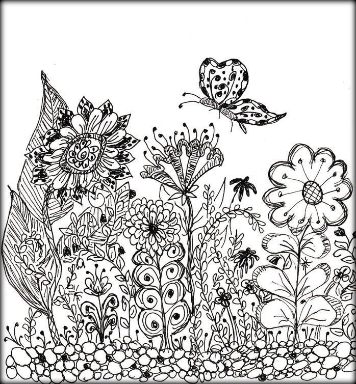 flower vase coloring pages - adults coloring book flowers desgin