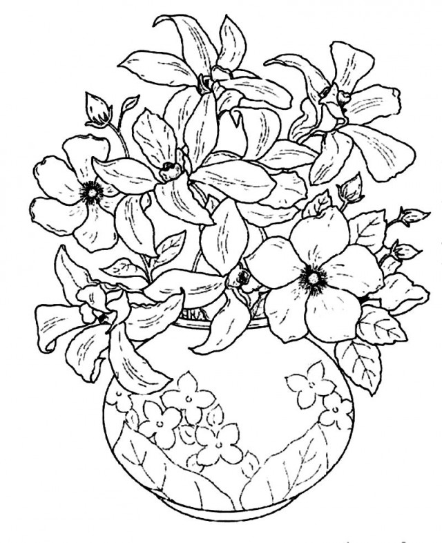 flower vase coloring pages - flower pot coloring page