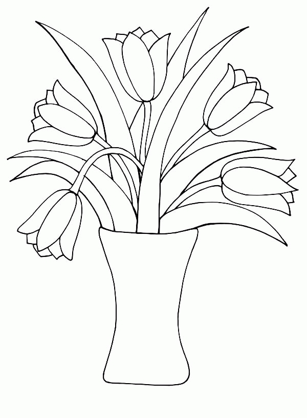 Flower Vase Coloring Pages - Vase and Flowers Coloring Page Coloring Home