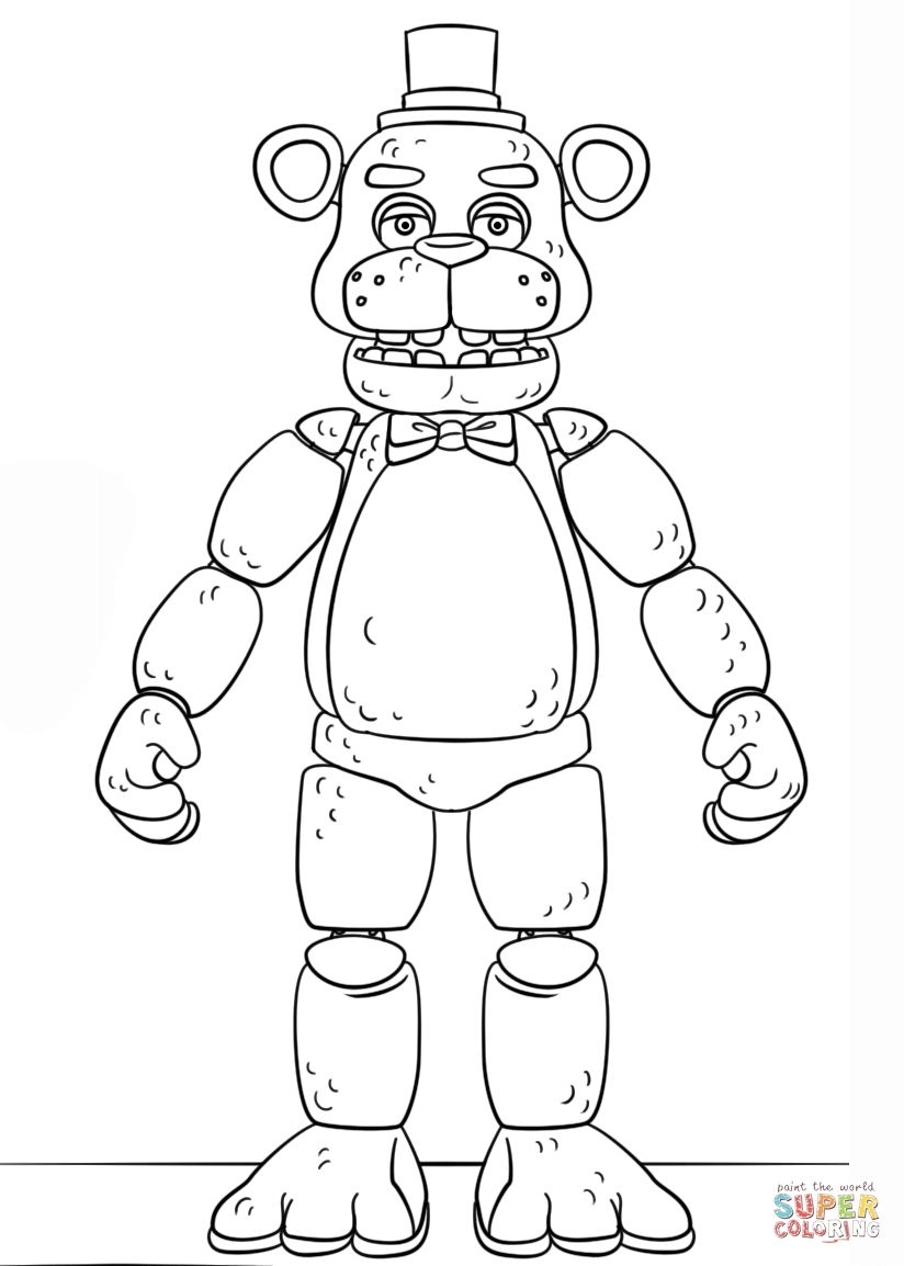 Fnaf Coloring Pages - Fnaf toy Golden Freddy Coloring Page