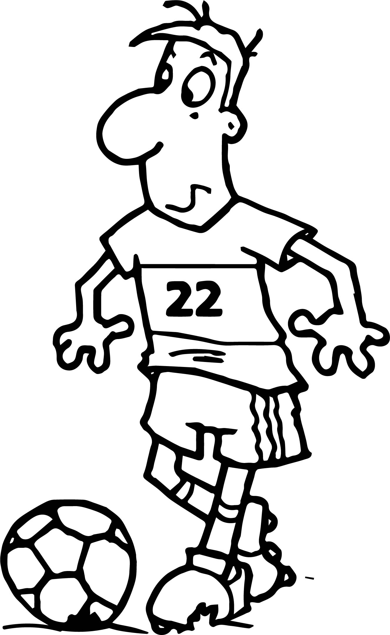 football coloring pages - soccer player cartoon free playing football coloring page