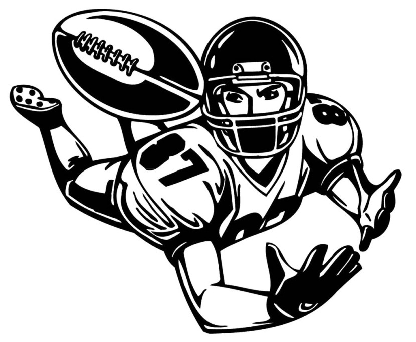 football player coloring pages - free clipart football playelack and white