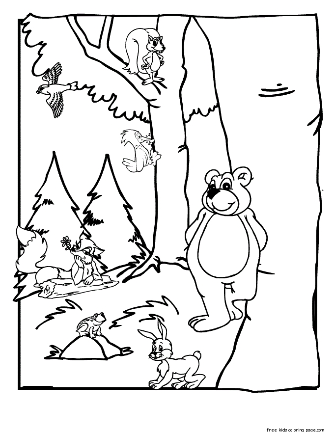 forest animals coloring pages - forest coloring pages