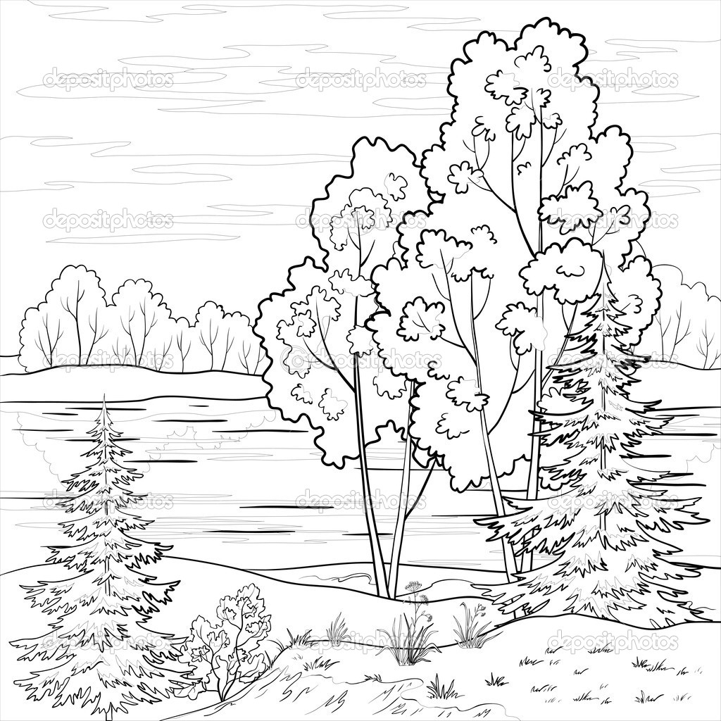 forest coloring pages - forest landscape coloring page tag forest landscape coloring page kids coloring pages