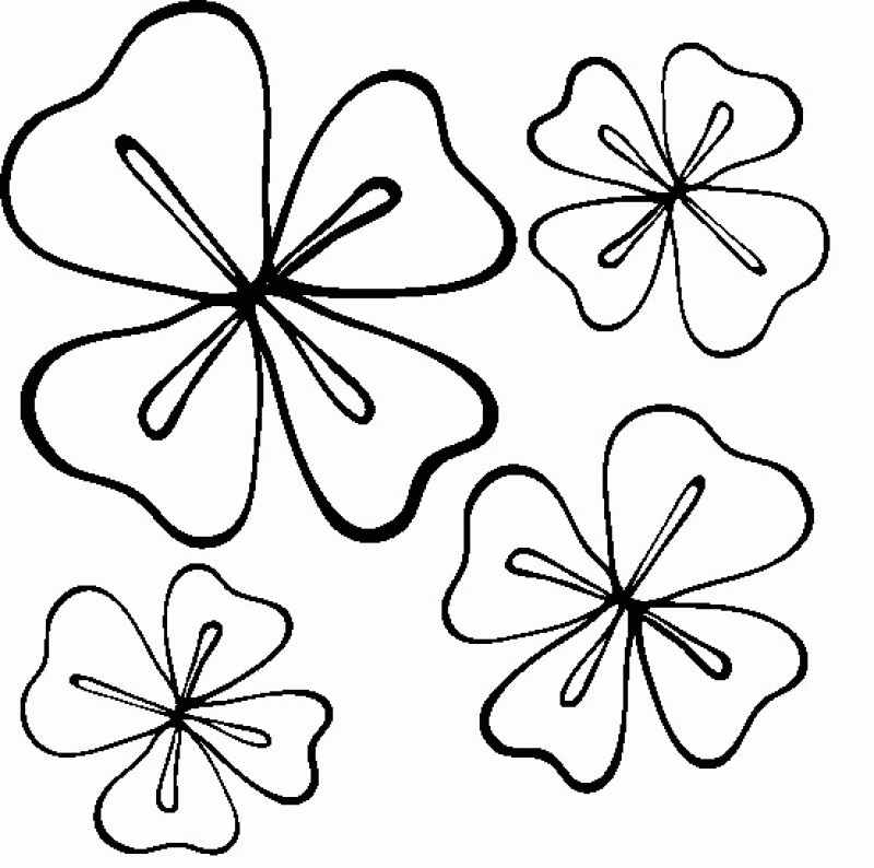 four leaf clover coloring page - 4 leaf clover coloring page