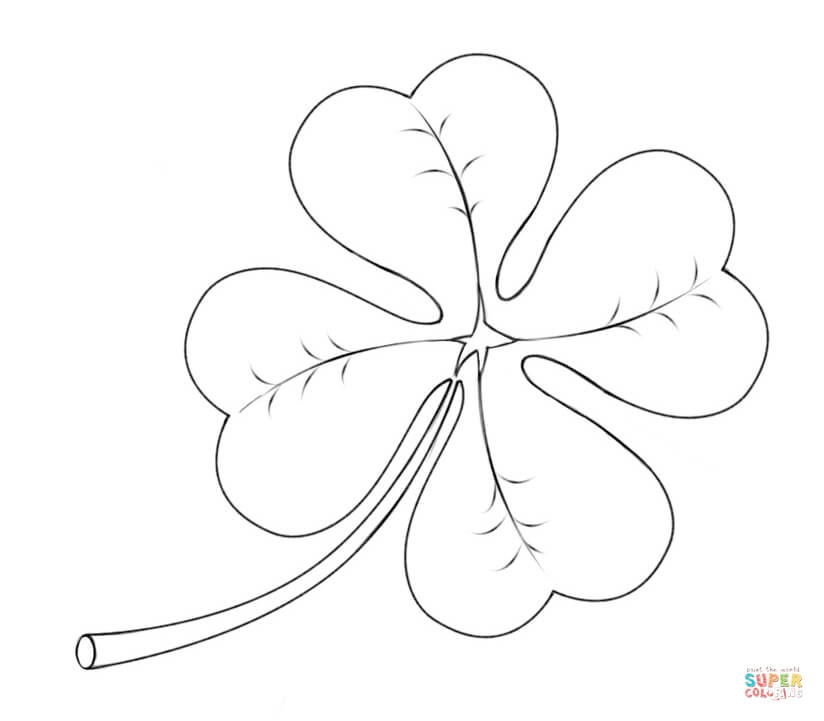 four leaf clover coloring page - four leaf clover 0