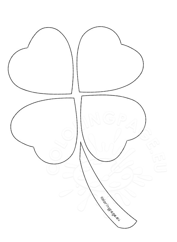 four leaf clover coloring page - four leaf clover outline