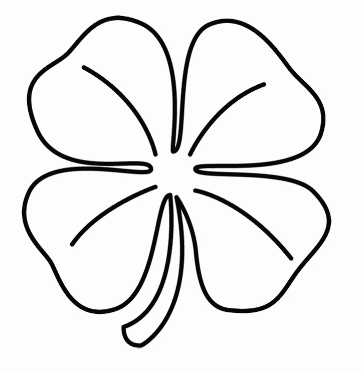 four leaf clover coloring page - printable four leaf clover