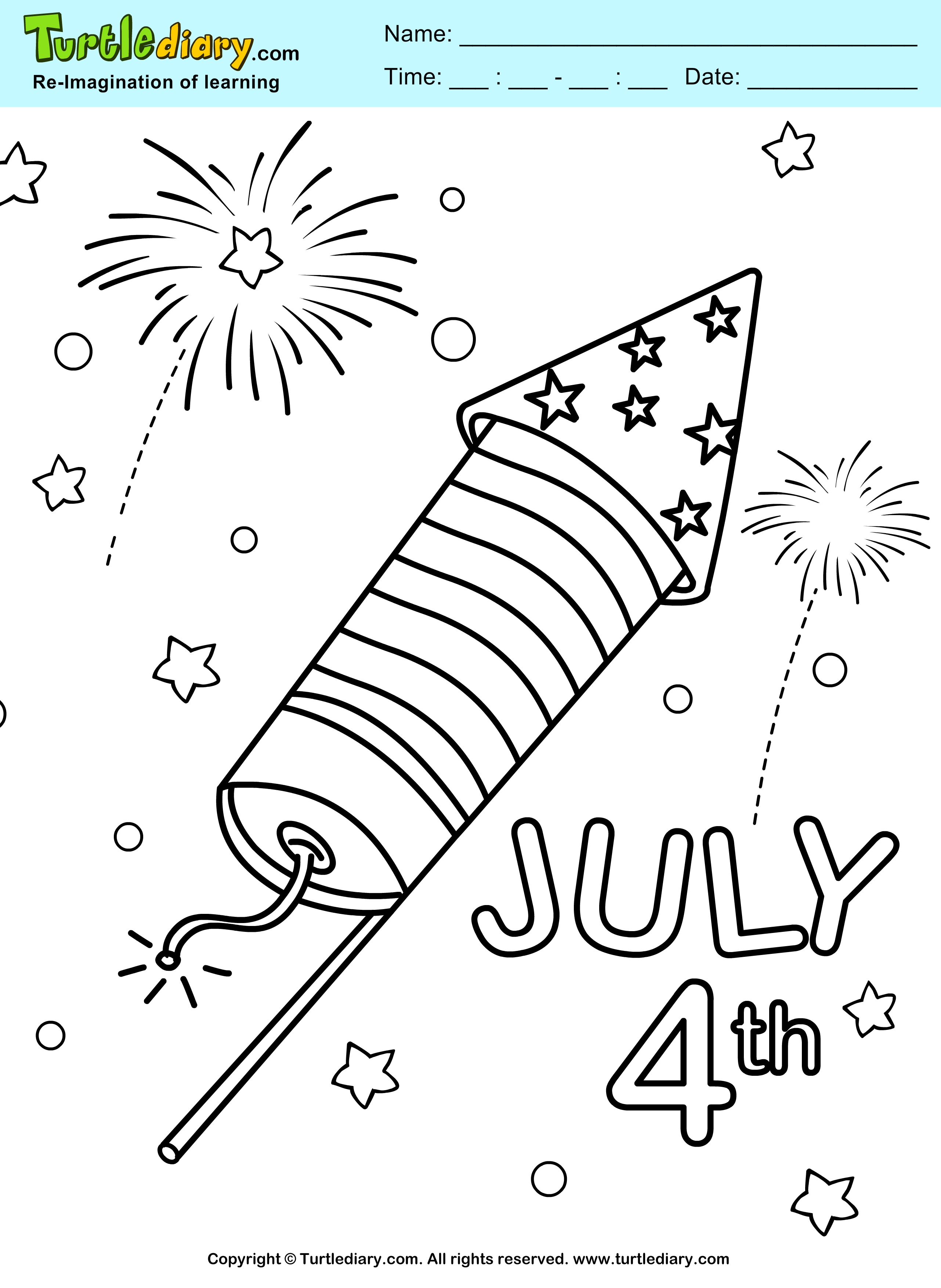 fourth of july coloring pages - 4th of july fireworks coloring page