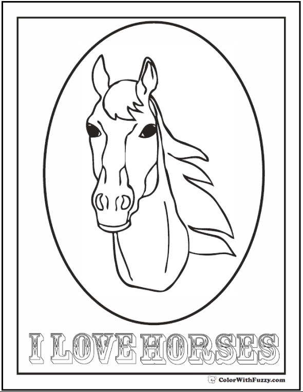 framed coloring pages - horses coloring pages