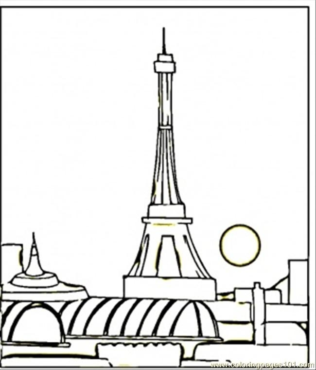 france flag coloring page - view of paris at night