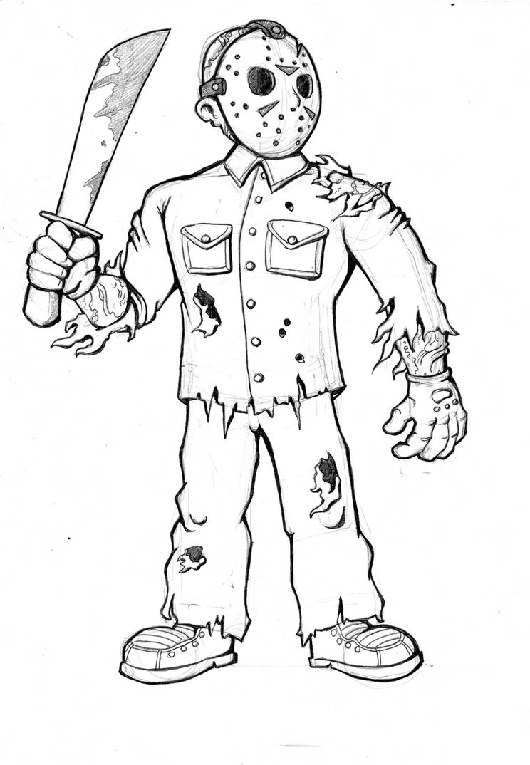 freddy krueger coloring pages - jason vorhees coloring pages to print sketch templates