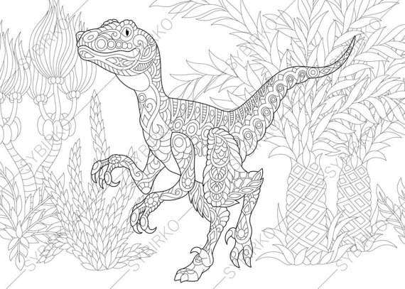 Free Adult Coloring Pages to Print - Adult Coloring Pages Dinosaur Velociraptor Zentangle Doodle