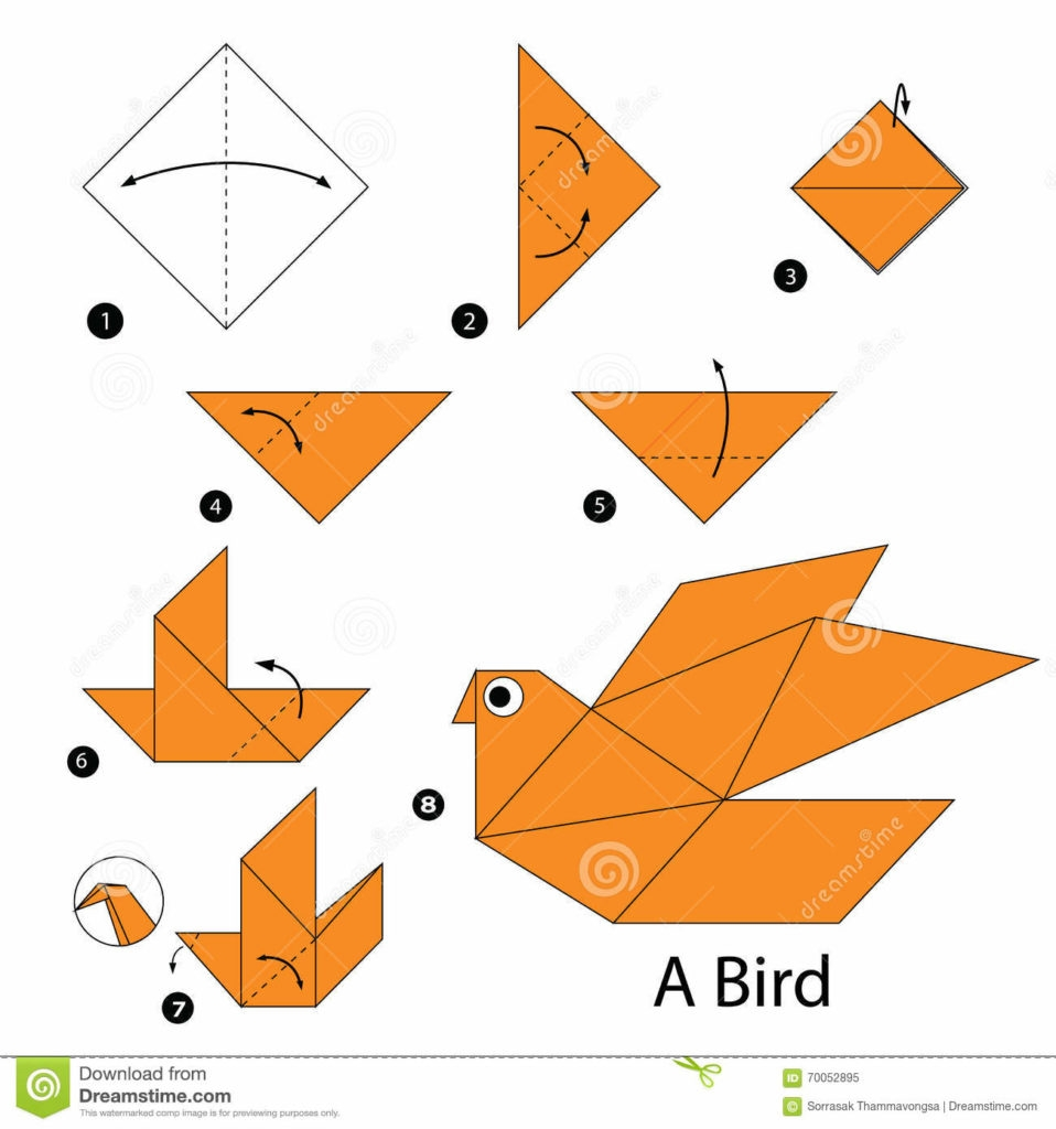 free bird coloring pages - step step instructions how to make origami bird stock photos