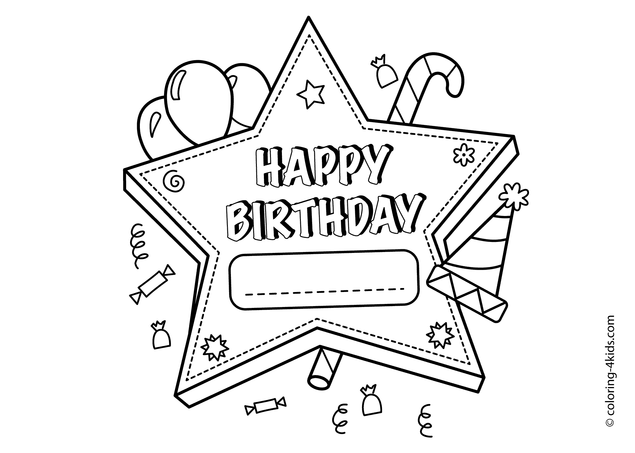 free birthday coloring pages - 2316