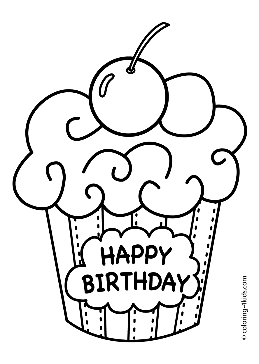 free birthday coloring pages - happy birthday coloring pages