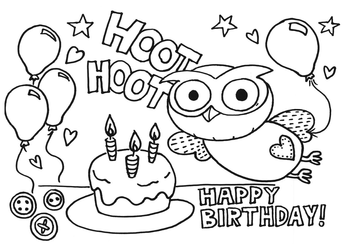 free birthday coloring pages - printable happy birthday coloring pages