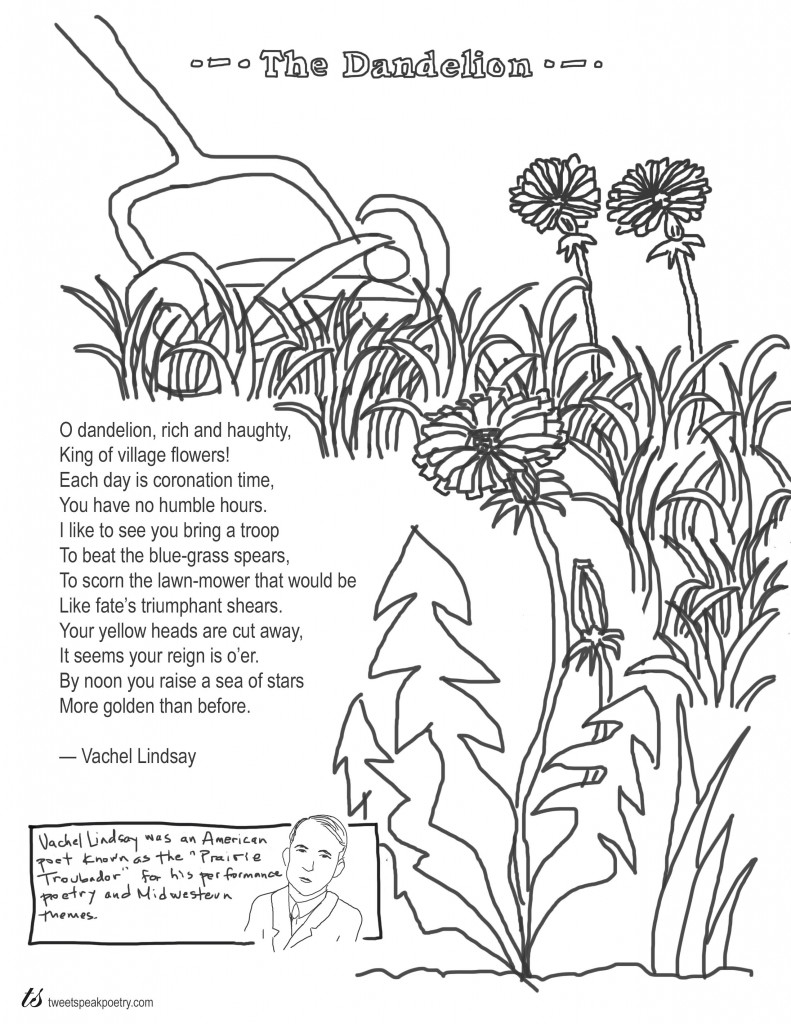 free butterfly coloring pages - coloring page poems the dandelion by vachel lindsay