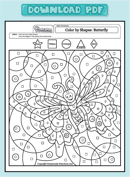 free butterfly coloring pages - math worksheets color by shapes butterfly color by shapes butterfly 4