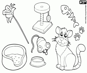 free cat coloring pages - cat toys coloring page