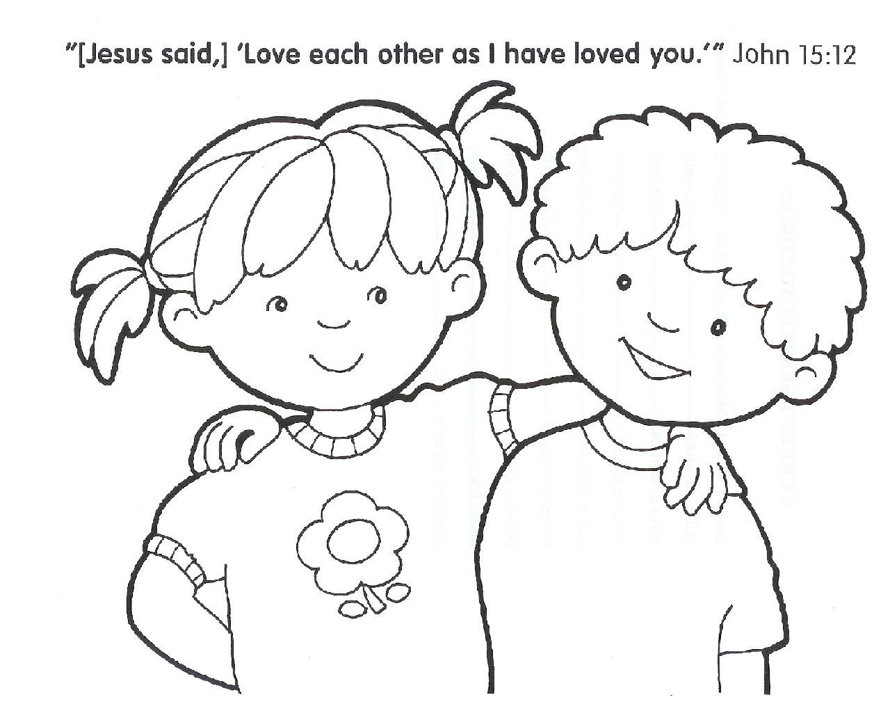 free christian coloring pages - kids sharing coloring page