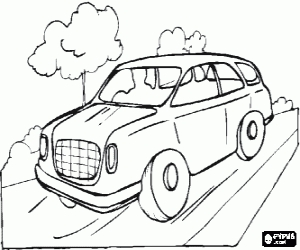 free coloring book pages - car traveling on the road coloring page 108