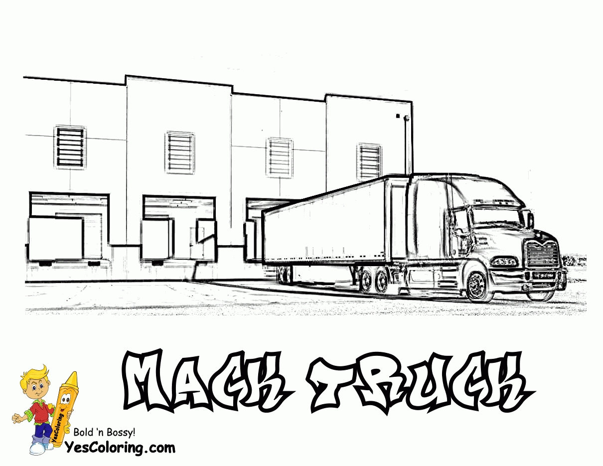 free coloring pages for boys - semi truck coloring page big rig truck coloring pages free 18 wheeler boys coloring 2
