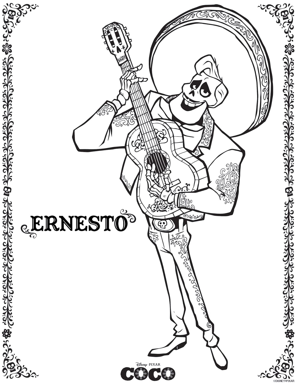 free coloring pages - disney coco movie coloring pages