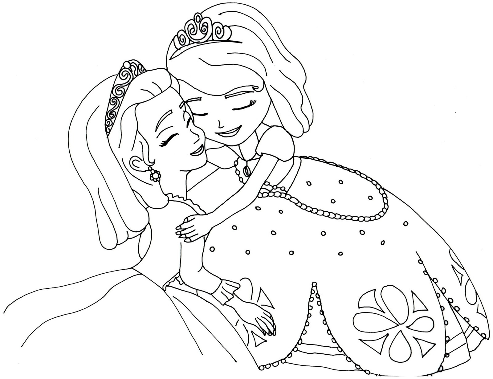 free coloring pages - sofia and amber hugged free coloring
