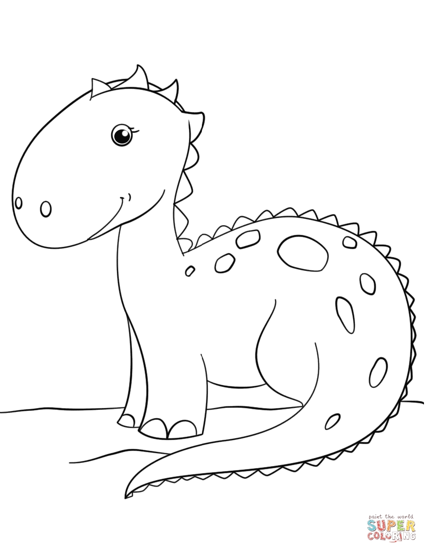 free dinosaur coloring pages - cute cartoon dinosaur
