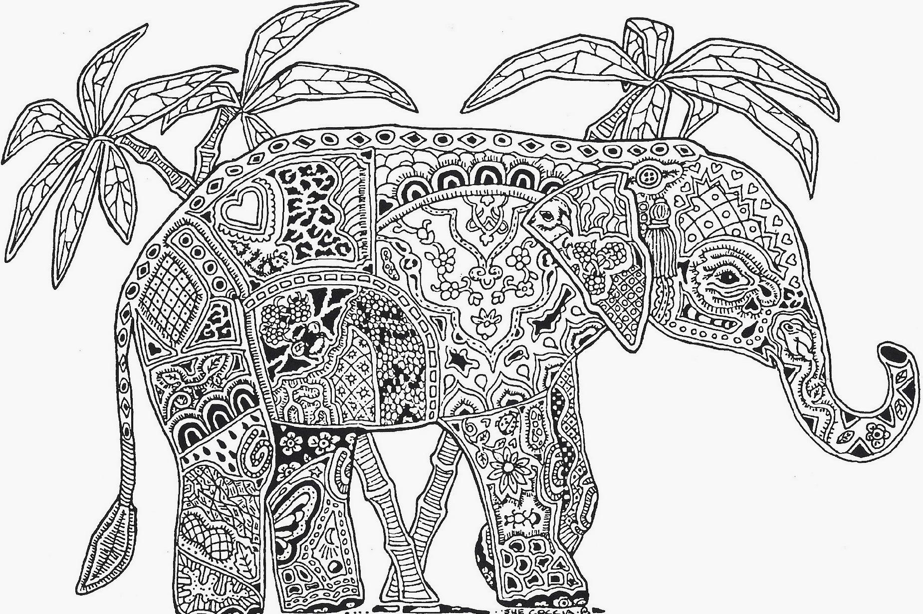 free elephant coloring pages - 3471