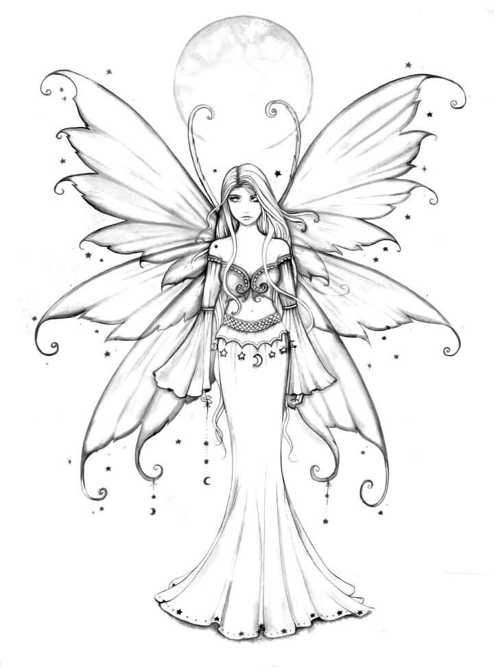 free fairy coloring pages - coloring for grown ups
