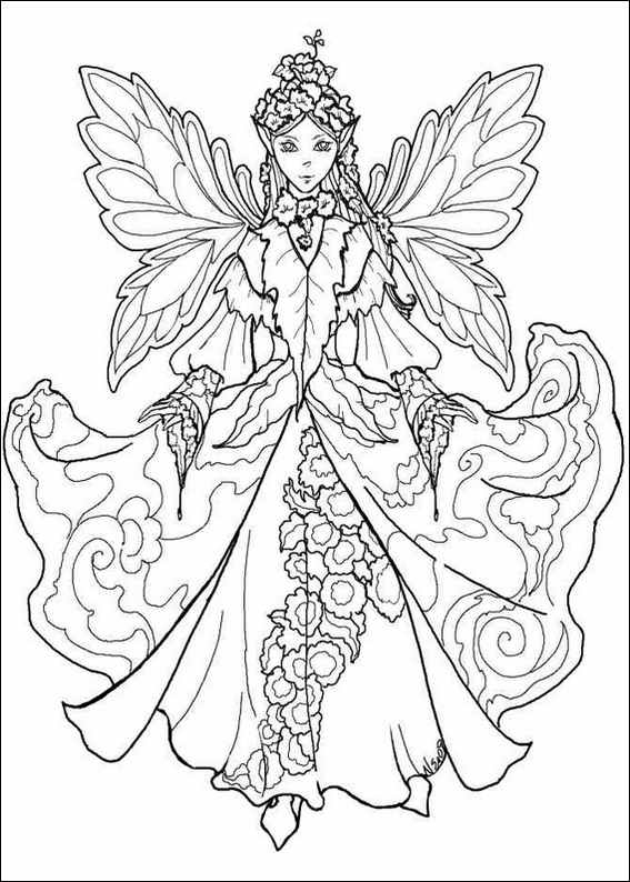 free fairy coloring pages - christmassy winter fairy to print and