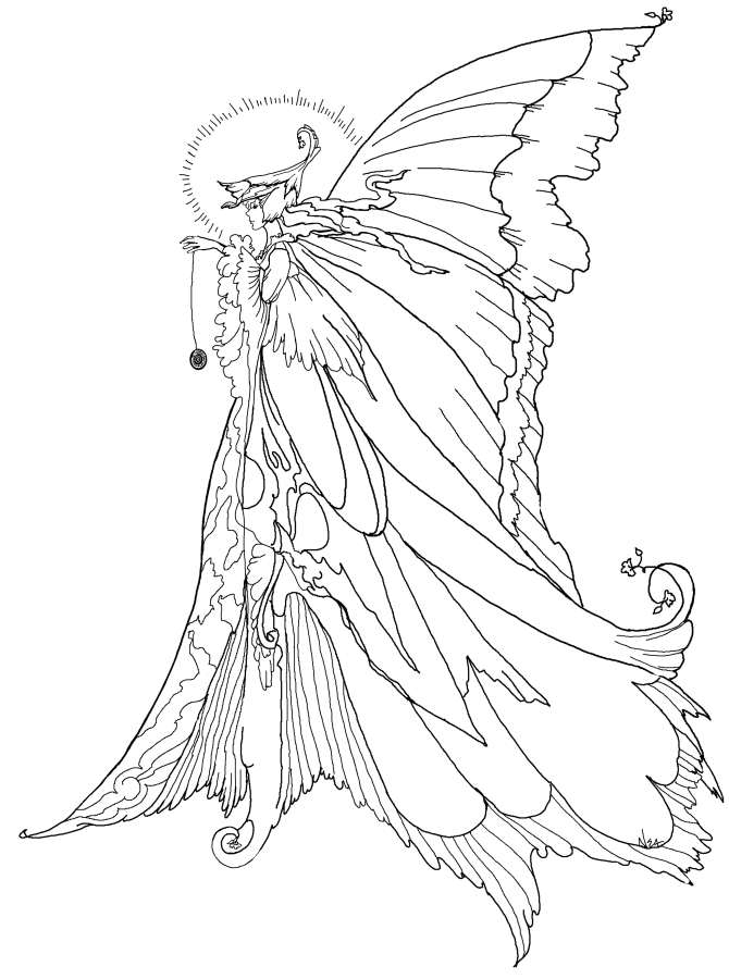 free fairy coloring pages - q=difficult fairy