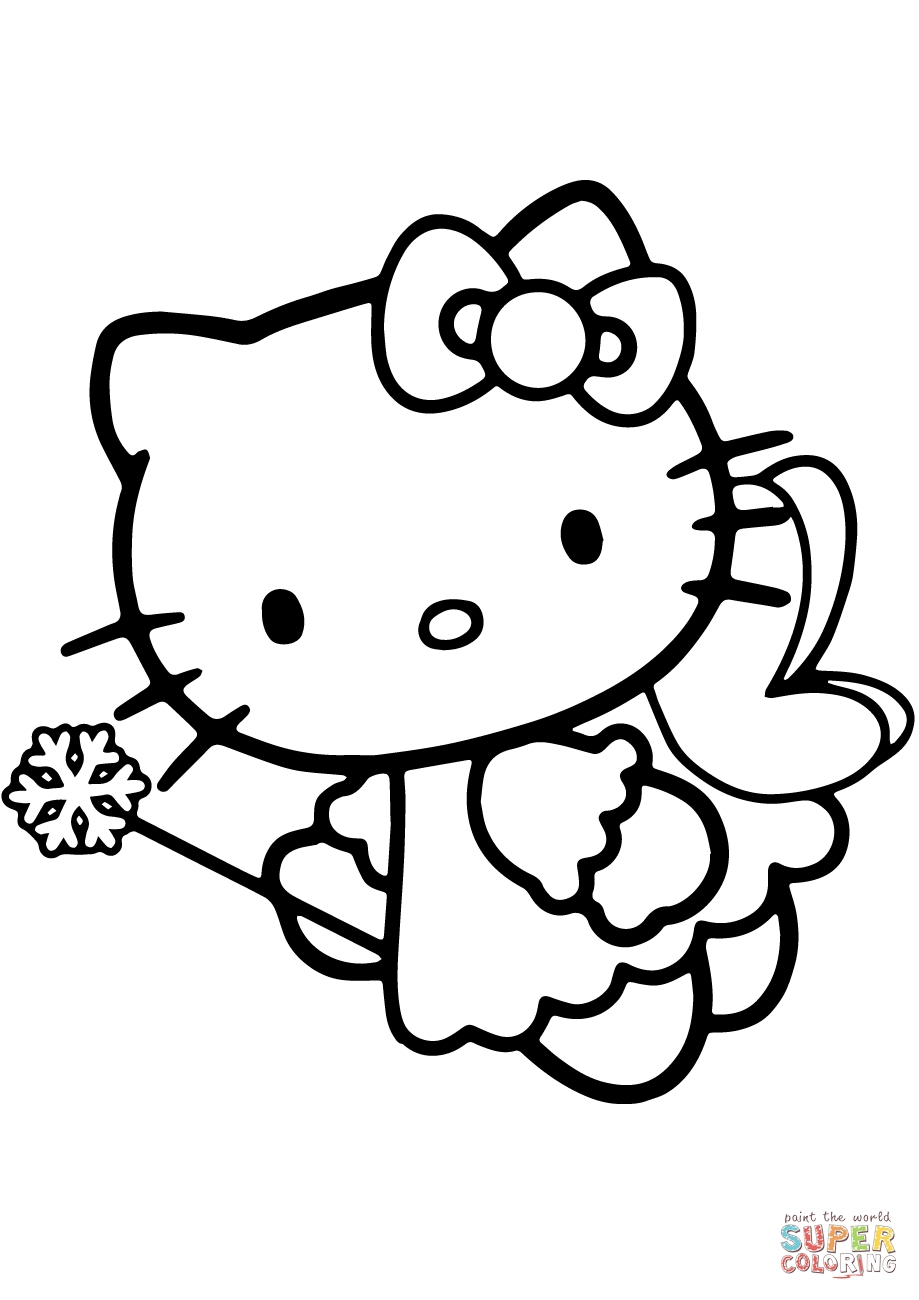 free fairy coloring pages - hello kitty fairy