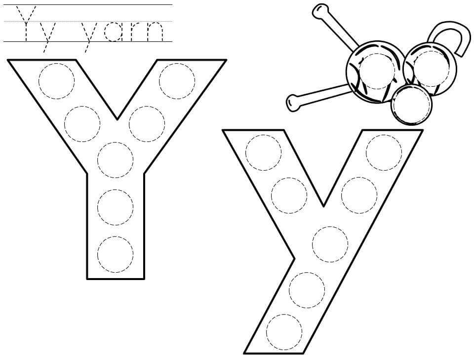 free fall coloring pages - do a dot letter y printable