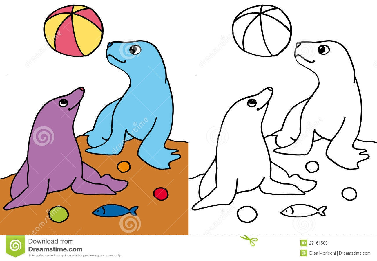 free fish coloring pages - stock photo seals playing ball color bw image