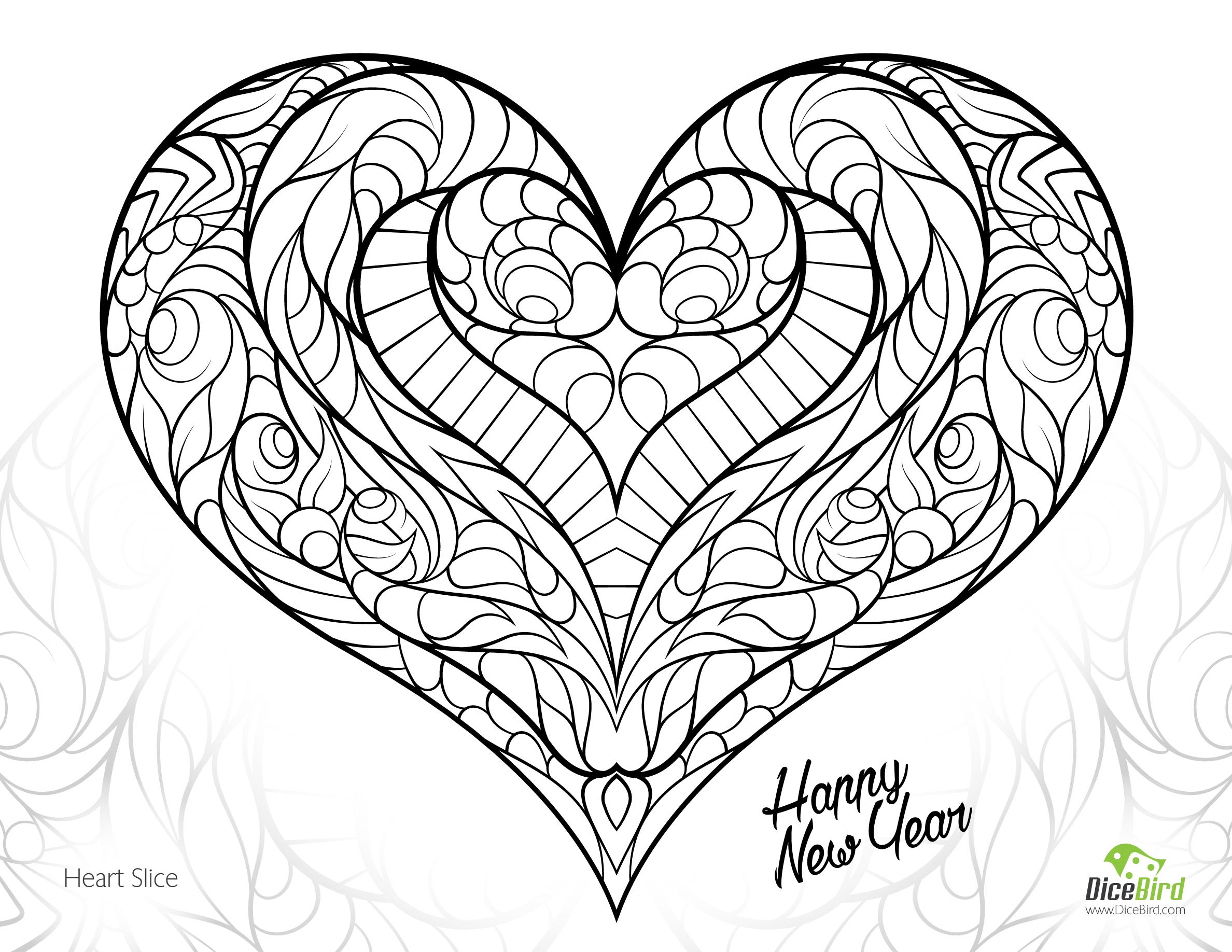 free heart coloring pages - heart slice free adult coloring pages printable