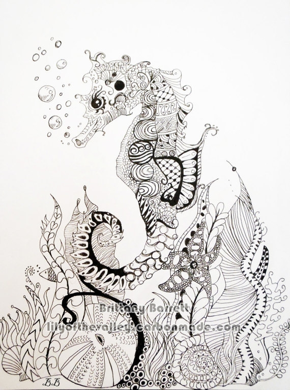 free mermaid coloring pages - seahorse zentangle design print