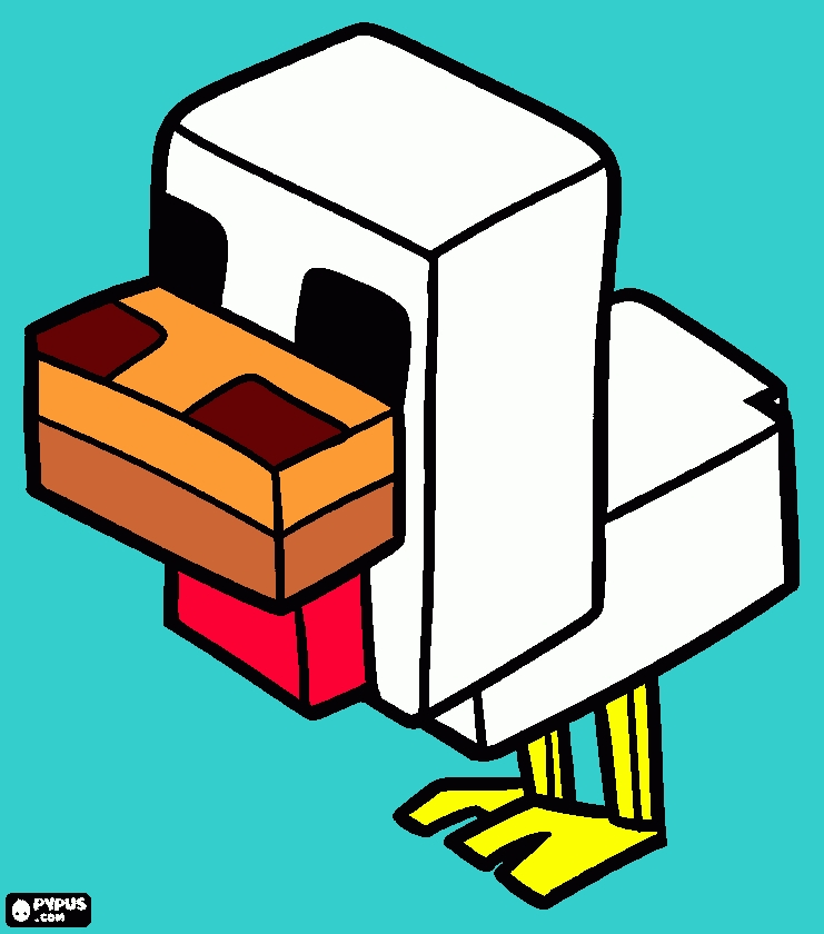 free minecraft coloring pages - coloring page chicken from minecraft