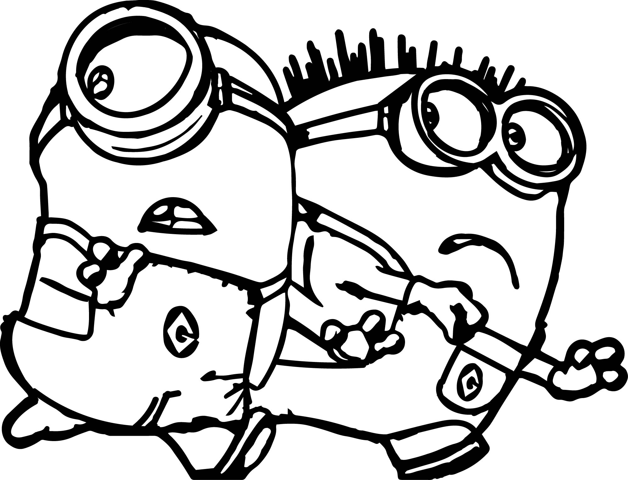 free minion coloring pages - minions run run coloring page