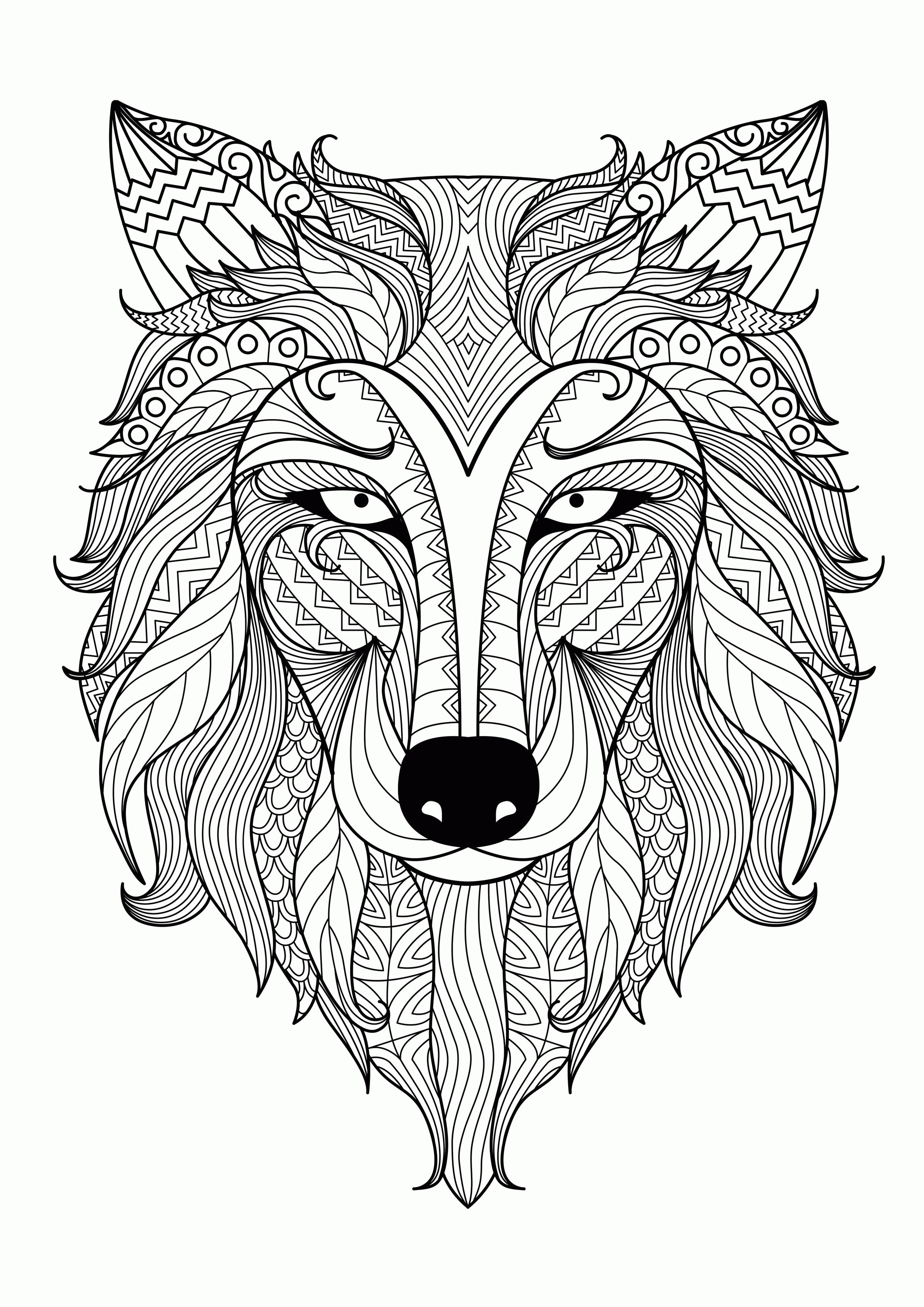 free online coloring pages for adults - abstract animal coloring pages