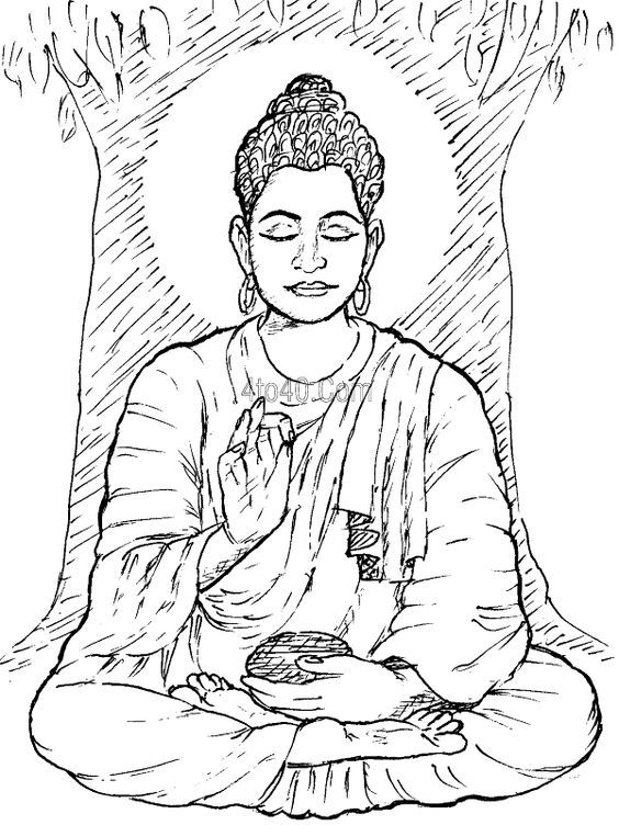 free online coloring pages for adults - buddha coloring page