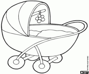 Free Online Coloring Pages - Baby Stroller Coloring Page Printable Game